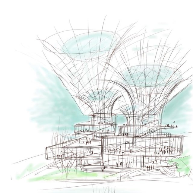 Conceptual sketch Jamshedpur Cultural Center Jamshedpur India yazdanistudio cannondesignindianarchitecture architectdrawings